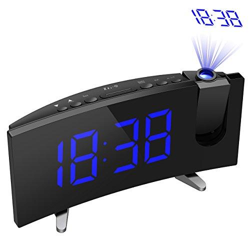 Radio Réveil de Projection, Holife Alarme FM Radio 2 Alarmes 3 Niveaux Luminosité Réglable Grand LED Affichage 5 Pouces avec Fonction Snooze, Minuterie de Sommeil, Recharge USB, Batterie de Secours, Bleu