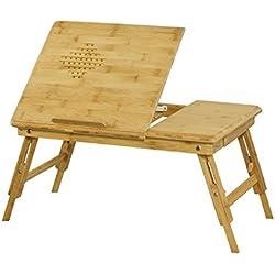 SoBuy® Mesa para portátil, mesita de cama,altura de las patas regulable individualmente, con mantel, 2 años de garantía,FBT04-N