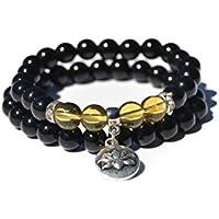 Preisvergleich für Black Achat und Citrin Armband | Frau & Mann |Ideal Yoga Reiki Chakras Meditation