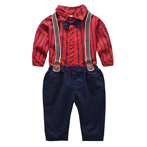 Tianhaik 1-6 Jahre Kinder Fliege Hemd Hosenträger Hosen Outfits kleinen Jungen Gentleman Kleidung festgelegt