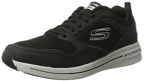 Skechers Qtr Overlay Lace Up W/Air-Coo, Scarpe Sportive Outdoor Uomo Nero (bkgy)