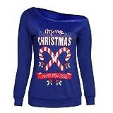 VECDY Damen Pullover, Schwarzer Freitag Specials Frauen Frohe Weihnachten Brief Print O-Kragen Langarm Tops Bluse Shirt Schulterfreier Pullover Brief Oben Sweatshirt
