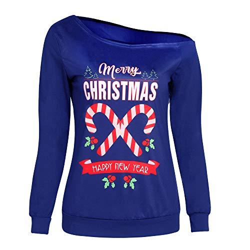 Resplend Pullover Weihnachten,Off Shoulder Sweatshirt Mode Tuniken Oberteil Damen Schulterfrei Langarmshirt Blusen T-Shirt