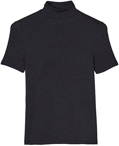 FIND Damen T-Shirt mit Kragen, Schwarz, Small