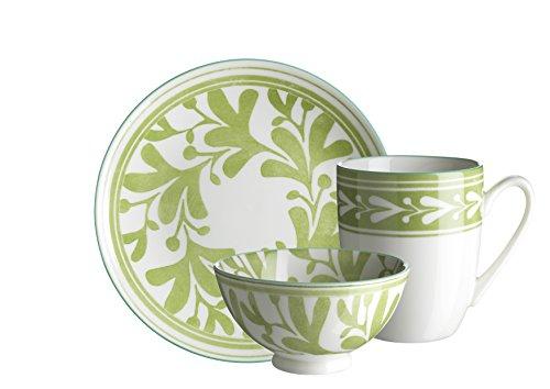 Domestic by Mäser 931020 série Palma Set Petit Déjeuner, 18 pièces, pour 6 Personnes, décoré dans la Couleur Porcelaine, Vert, 40 x 40 x 25 cm, 18 unités