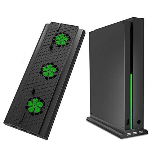 SODIAL Vertical Supporto con Ventola di Raffreddamento per Xbox One X, Dispositivo di Raffreddamento per Consolle con 3 Porte USB per Xbox One X Console