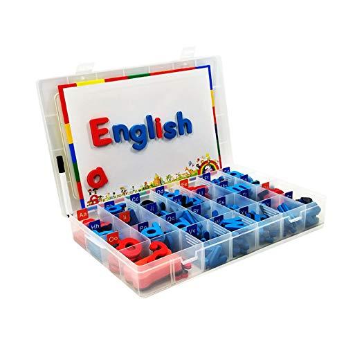 Blanketswarm Magnetbuchstaben und Tafel in Einer Box, Alphabet Kühlschrankmagnete Lernspielzeug mit Zeichenstaffelei Kreidetafel für Vorschul-Lernen, Schaumstoff, 52 Capital+156 Lower Case, M - Alphabet Box