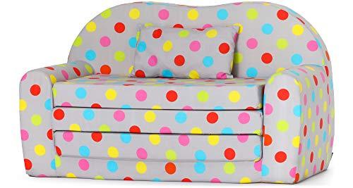 Ladeheid Kindersofa Kindercouch Bettfunktion LATE1004 (Grau/Farben Punkten, 170 x 100 x 60 cm)