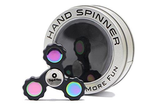 #Top4You Fidget Spinner: High-Speed Stahl Kugellager Drehzeit 4-7 Minuten, Star Bras, Schwarz, Fidget Toys Hand Spinner, Tri Spinner, Steigert die Konzentration und hilft gegen Nervosität. Top Qualität!#