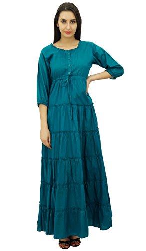 Bimba Manches 3/4 robe d'été en coton maxi cordon de la taille des femmes bleu sarcelle