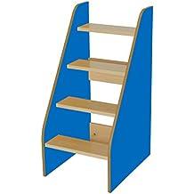 Mobeduc 600710HP20 - Escalera para cambiador, madera, color haya y azul oscuro, 40 x 50 x 86 cm