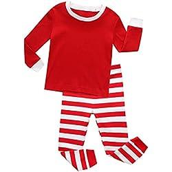 ISSHE Pijamas de Navidad Familia Pijamas Navideñas Adultos Pijama Familiares Manga Larga Hombre Mujer Niños Niña Chica Bebe Rojo Rayas Trajes Navideños para Mujeres Ropa de Noche Por Chico 8-9 Años