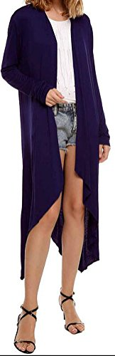 SunIfSnow donna sottile maglia lungo trincea aperto Stitch cotone Cardigan Outwear Purple Small