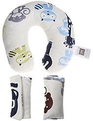 Set de 3pcs Bébé Oreillers U-forme Repos de Tête Cou pour Siège de Voiture Voyage Poussette - Hippo