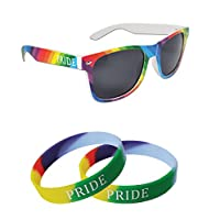 We Show Pride Combo Rainbow Sunglasses and 2 x Gay Pride Silicone Wristbands (WSPSG1)