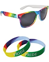 GAY PRIDE DUO PACK - Wayfarer Sunglasses & 2 x Wristbands