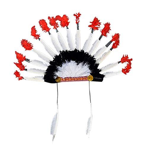 Für Hunde Haloween Kostüm - DEELIN Erwachsenen Kopfschmuck Feder Deluxe Mulitcolor Karneval Kostüm Karneval Hut