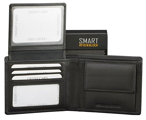 Schutzhülle RFID NFC Brieftasche - Schloss mit Münzfach für Herren - Schwarz Echtes Leder Weich RFID SMART BLOCK Designer Kollektion 100{5cf1df6f155e904d4f07920dd65319713deff246bfdf139ec993da219533f7c1} Debit Card-Schutz TÜV geprüft und zertifiziert (SM-902PBL)