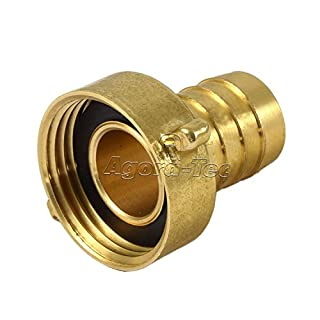 Agora-Tec brass hose nozzle/fitting, 3/4 inch (19 mm) to 1 inch (30.3 mm)   Industrial quality   With flat gasket for garden hose with an inside diameter of 19 mm