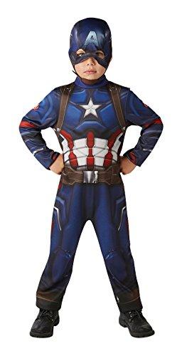 Große Kostüm Captain America - Rubie 's Offizielles Marvel Bürgerkrieg Classic Captain America, Kind Kostüm-groß Alter 7-8