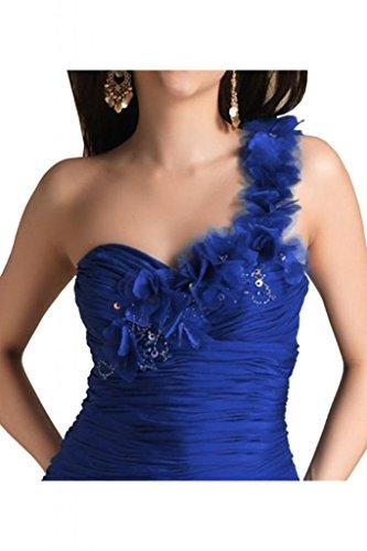 Toscana sposa donna un-spalla stanotte vestimento Kurz Chiffon Cocktail Party abiti da sposa Blu Royal