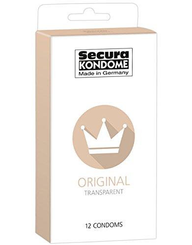 Secura Original 12er Kondome - 12 transparente Präservative zur Verhütung ohne Hormone für Männer, extra feucht mit Reservoir