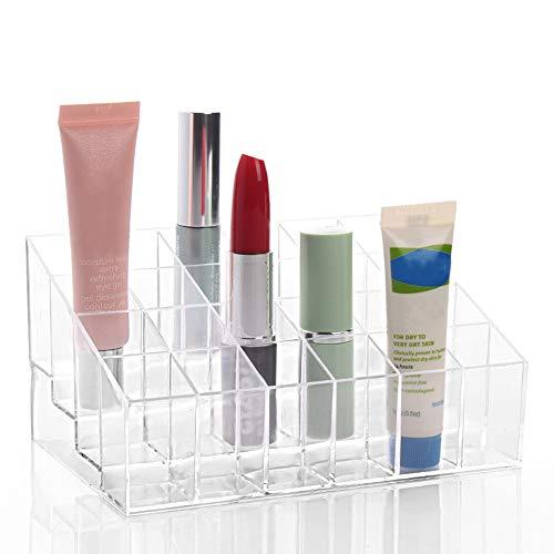 TRIXES Rangement Rouge à Lèvres Transparent - 24 Compartiments - Maquillage Rouge à Lèvres Cosmétique Présentoir Stand Support Rangement