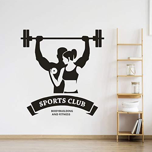 Hwhz 57X59 Cm Gym Bodybuilding Wandaufkleber Fitness Sports Club Logo Wandtattoo Gym Dekoration Bodybuilding Mann Und Frau Wand Poster