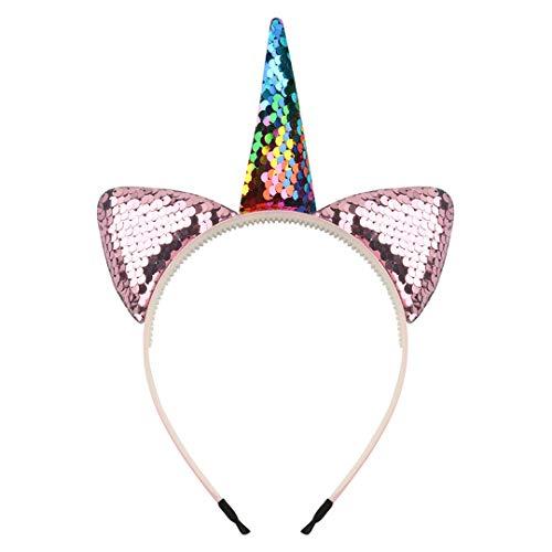 Kinder Reversible Pailletten Haarband Mädchen Einhorn Stirnband Einhorn Haarschmuck Für Birthday Party Supplies B6 ()
