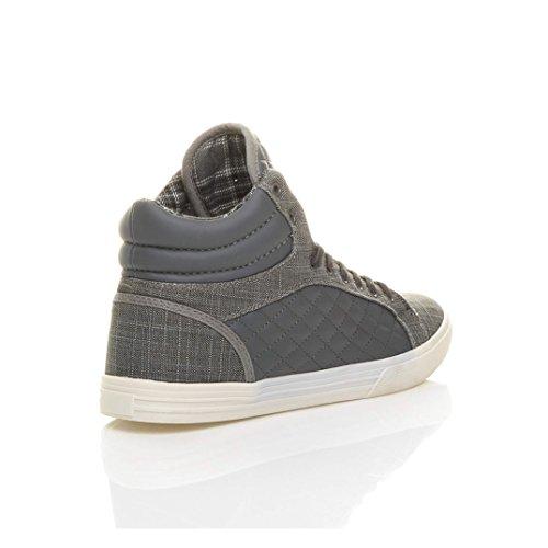 Scarpe da ginnastica da uomo stringate hi high sneakers imbottite casual caviglia alta numero Grigio Antracite
