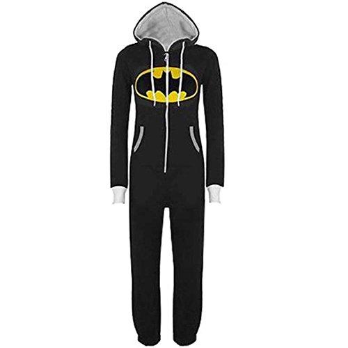 Casa Monopezzo - Uomo Unisex Batman Superman Casualwear Onesie In Tinta Unita Cappuccio Con Risvolto Chiusura Con Zip Front Tuta Intera Nero L