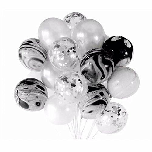 20PCS 30,5cm schwarz & weiß Party Dekoration Latex-Luftballons aufblasbar Set, Marmor Konfetti Luftballons für Hochzeit Geburtstag Baby Dusche Weihnachten Neues Jahr Geschlecht Reveal Party Vintage Requisiten Decor Supplies