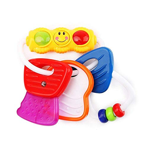 GURU KRIPA BABY PRODUCTS Presents BPA-Free Non Toxic Toddler and Infant Baby Silicone Tooth Gel Sooter Teether Keys Ring Teething Toys for Baby Rattle Toy Textured Water Filled