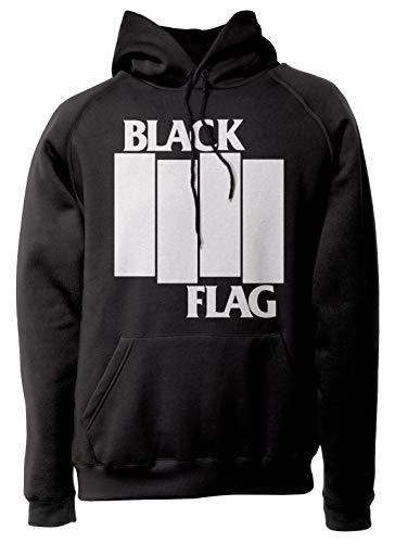 LaMAGLIERIA Unisex-Hoodie Black Flag - Stripes Logo White Print - Kapuzenpullover Punk Rock Band, L, schwarz (Black Shirt Flag)