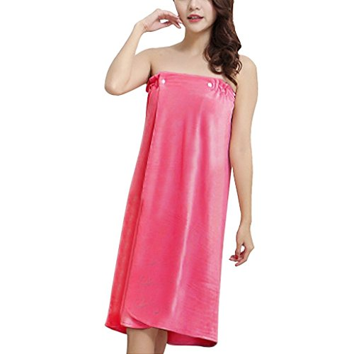 FakeFace Damen Handtuch Wrap, weiches Velours tragbar Spa Dusche Bad Wrap Strapless Cover Up Badehandtuch Tube Kleid Bademantel mit elastischem Rücken und Druckknopf One Size Rose (Snap Spa Wrap)