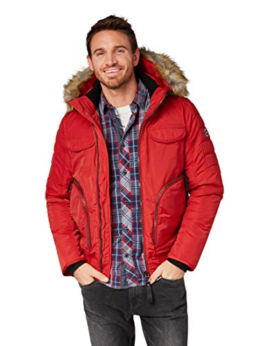TOM TAILOR für Männer Jacken & Jackets Bomberjacke mit Kapuze Brazilian red, M