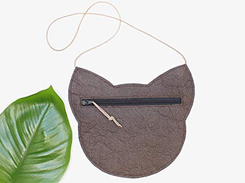 Piñatex® Katze, braune Tasche aus Ananasfaser - 4