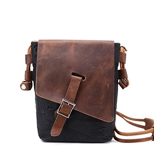 Mefly In Estate Di Diagonal Uomini Casuale Borsa A Tracolla Bag Caffè black