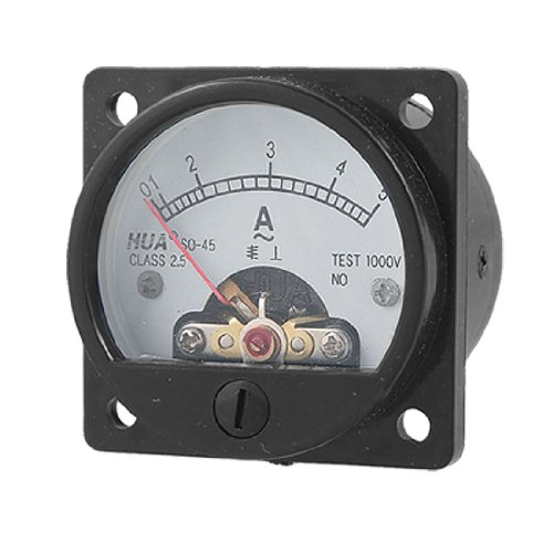 Klasse 2,5Genauigkeit AC 0–5A Runde Analog Panel Meter Amperemeter schwarz (Runde Dial Meter)