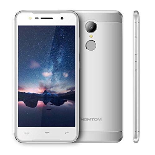 HOMTOM HT37 3G Smartphone Ohne Vertrag 5 Zoll HD Android 6.0 Quad-Core 2GB RAM+ 16GB ROM 8.0MP Kamera 3000mAh Akku Dual-SIM Fingerabdrucksensor Bunte Lichte, Doppel Lautsprecher - Silber