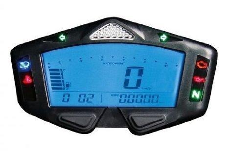 Motorrad Cockpit Armatur Instrument Racing Yamaha R1 R6 R3 FZ FZR Koso DB-03 mit ABE Tacho RPM Ganganzeige Tankanzeige Blinker Schaltblitz Digital Boardcomputer Programmierbar Uhr Stundenzähler