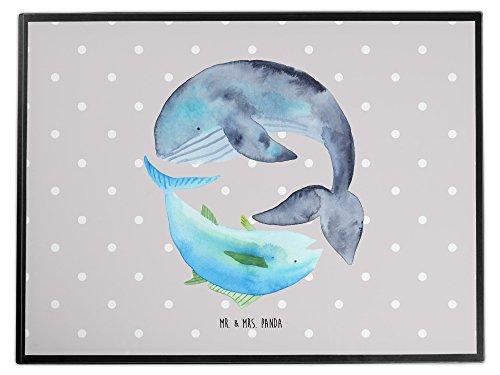 Mr. & Mrs. Panda Unterlage, Schreibtisch, Schreibtischunterlage Walfisch & Thunfisch - Farbe Grau Pastell