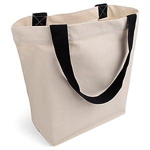 Cottonbagjoe stylische geräumige Tragetasche | mit Innentasche, Reißverschluss, und großem Boden | 1 Stück, Natur…