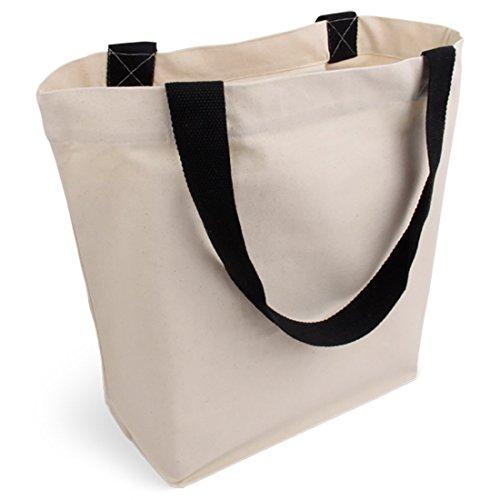 Cottonbagjoe stylische geräumige Tragetasche mit Innentasche und Reißverschluss Baumwolltasche Stofftasche Shopper Handtasche mit großem Boden Öko-Tex 100 Standard Zertifiziert 1 Stück -
