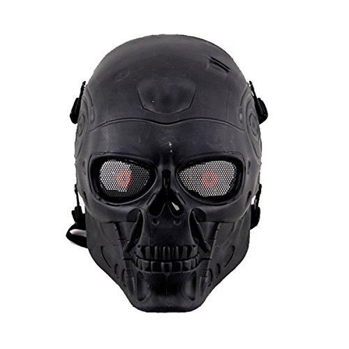 haoYK Full Face Airsoft Maske Taktische Paintball CS Schutzausrüstung Ausrüstung mit Metallgewebe Augenschutz (Schwarz)