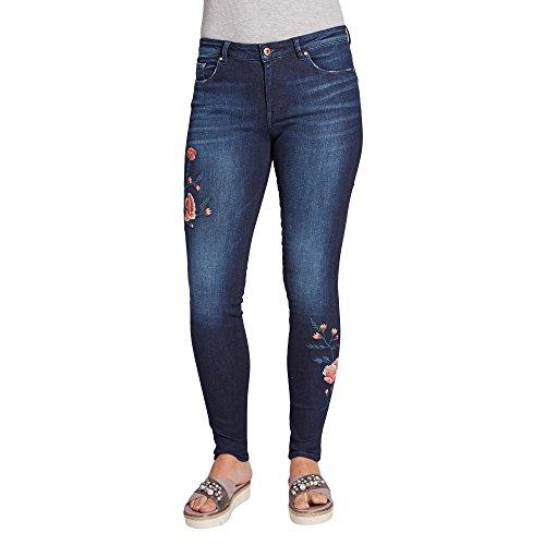 Esprit EDC EDC 127CC1B003 Damen Jeans Five-Pocket-Form mit Stickerei Gerade Form Stretch, Groesse 31/30, Dunkelblau Denim (Pocket Stickerei Denim)