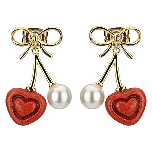 THUN ® - Orecchini Love Drops placcati in Oro con Cuori Pendenti - Ceramica - h 2,3 cm