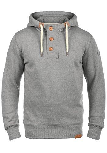 !Solid TripStrip Herren Kapuzenpullover Hoodie Pullover Mit Kapuze Knopfleiste Und Fleece-Innenseite, Größe:S, Farbe:Light Grey Melange (8242)