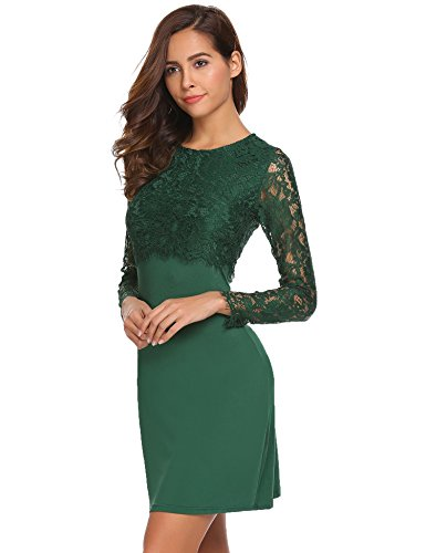 d2ca0df40bce57 *Keland Deal Damen Elegant Etuikleid Jersey OL Langarm O-Ausschnitt  Partykleid figurbetont mit Blumenspitze Spitzenkleid