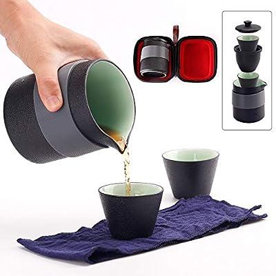 Louty Théière de Voyage en céramique théière Chinoise de Kung Fu, 1 Pot de 2 Tasses en Porcelaine avec Tasse à thé avec infuseur de thé